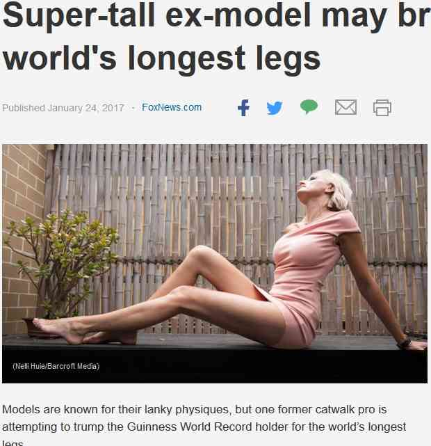 ギネス記録を塗り替える!? 世界一長い脚を持つと主張する元モデル(豪)