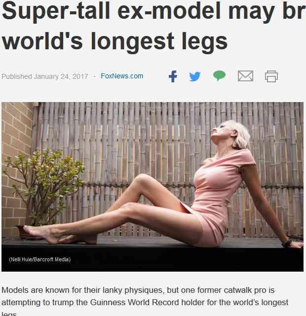 【海外発!Breaking News】ギネス記録を塗り替える!? 世界一長い脚を持つと主張する元モデル(豪) | Techinsight|海外セレブ、国内エンタメのオンリーワンをお届けするニュースサイト