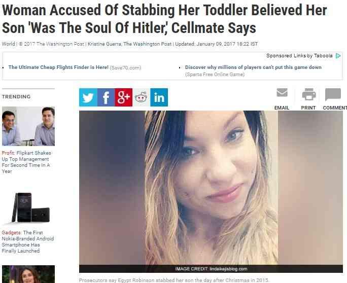 【海外発!Breaking News】「アドルフ・ヒトラーの魂が宿った子」28歳母親、3歳息子を刺殺(米)   Techinsight 海外セレブ、国内エンタメのオンリーワンをお届けするニュースサイト