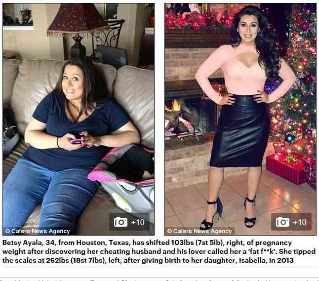 夫とその不倫相手から陰で「デブ」と呼ばれた妻 約47kgの減量に成功(米)
