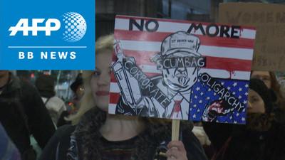 東京でも「反トランプ」デモ、米大統領就任目前に (AFPBB News) - Yahoo!ニュース