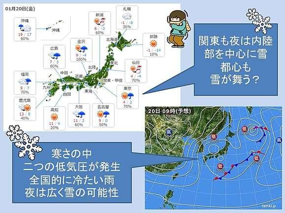 20日は再び大雪に警戒…東京でも昼過ぎから雪?気象庁