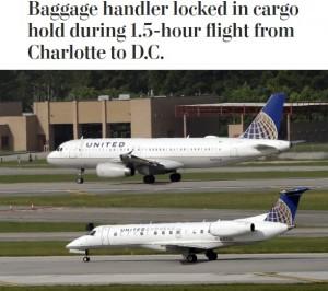 ユナイテッド航空機、荷物係を貨物室に閉じ込めたまま1時間半フライト(米)