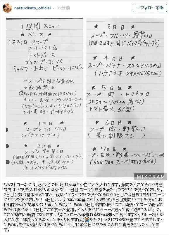 加藤夏希が1週間ダイエットメニューと基礎のスープレシピを紹介 - Ameba News [アメーバニュース]