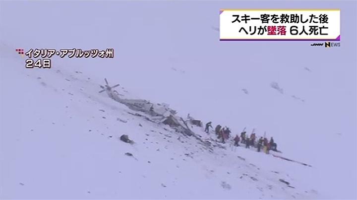 イタリア中部でスキー客を救助した後ヘリが墜落、6人死亡
