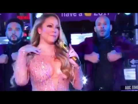 Mariah Carey New Years Eve 2016 2017 LIVE embarrassing performance ORIGINAL FIRST VIDEO - YouTube