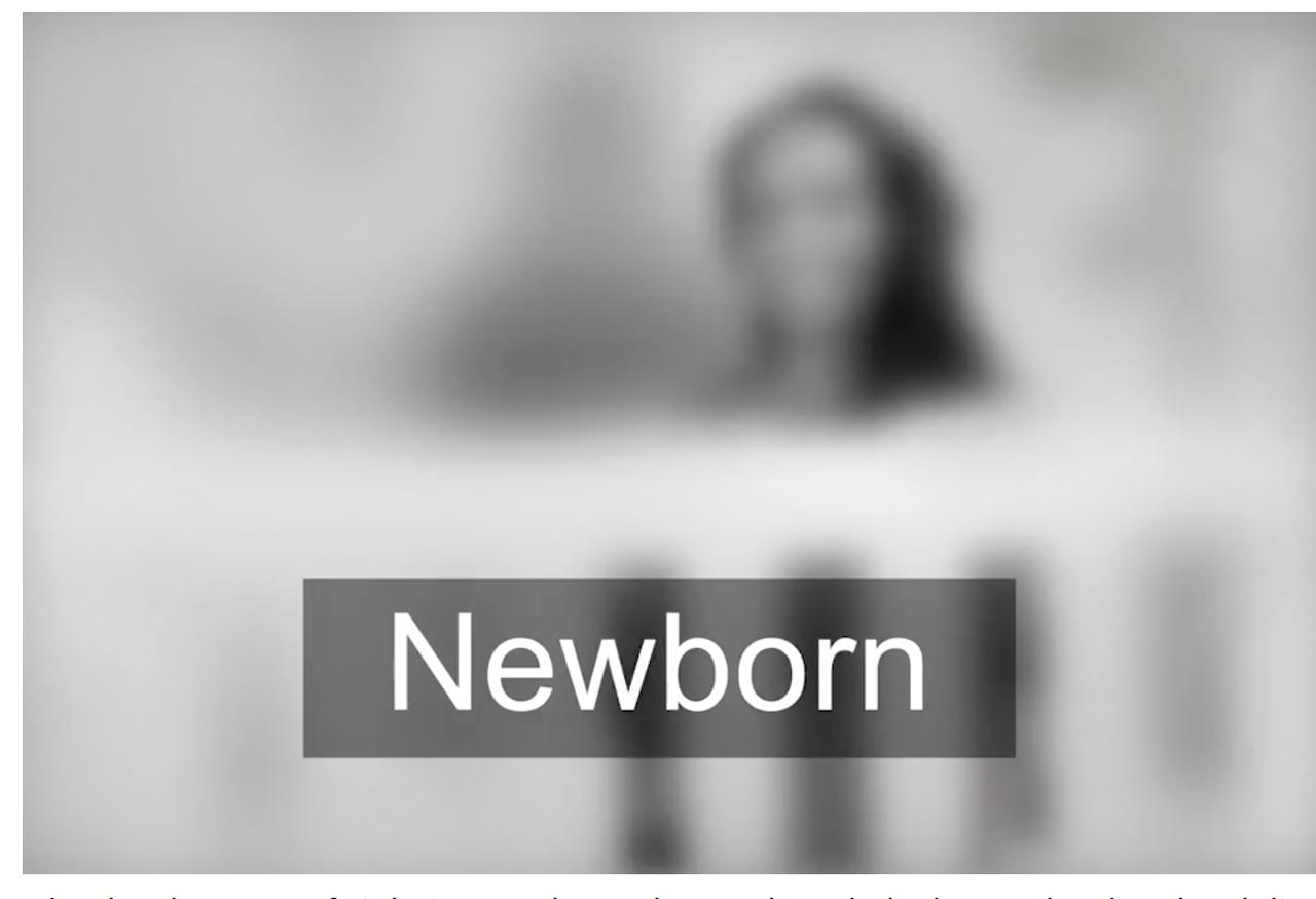 産まれたばかりの赤ちゃんの視力はこんな感じ!全然見えないんだけど!