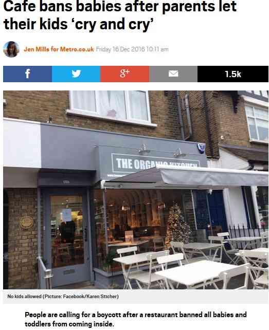 「5歳未満の子供入店お断り」を出したカフェに賛否両論(英)
