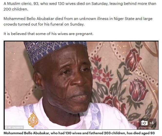 130人の妻と203人の子供を持つ男性が死亡「結婚し続ける事が神の使命だった」(ナイジェリア)