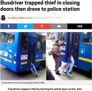 バス内で携帯電話を盗んだ男、ドアに挟まれながら警察へ(ベネズエラ)
