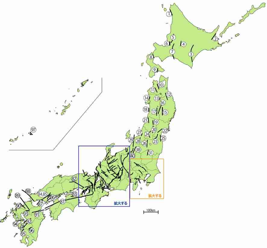 大地震の可能性のある16の活断層を追加