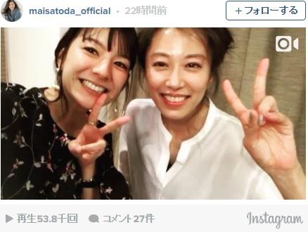 里田まいとスザンヌ、仲良しわちゃわちゃ動画に「見てて癒される」「今でもPabo好きです」の声