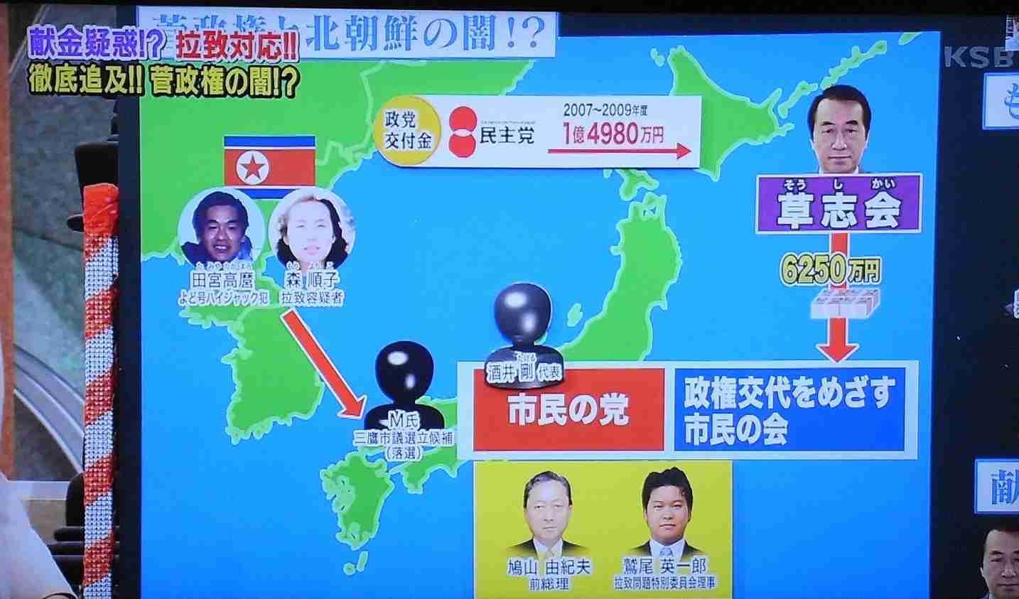 民主党は北朝鮮のフロント組織?菅直人、鳩山由紀夫らが北朝鮮拉致実行犯の息子を擁立した団体に献金疑惑 会員番号4153番