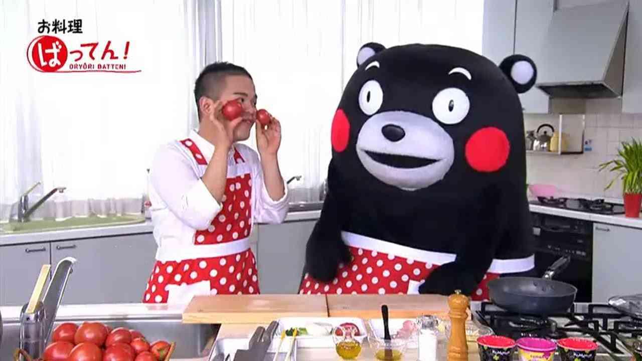 くまモンと真猿の『お料理ばってん!』トマトの焼きチーズカナッペ風 - YouTube