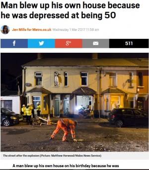 50歳の誕生日を一人で迎えた男、自分のアパートを吹き飛ばす(英)
