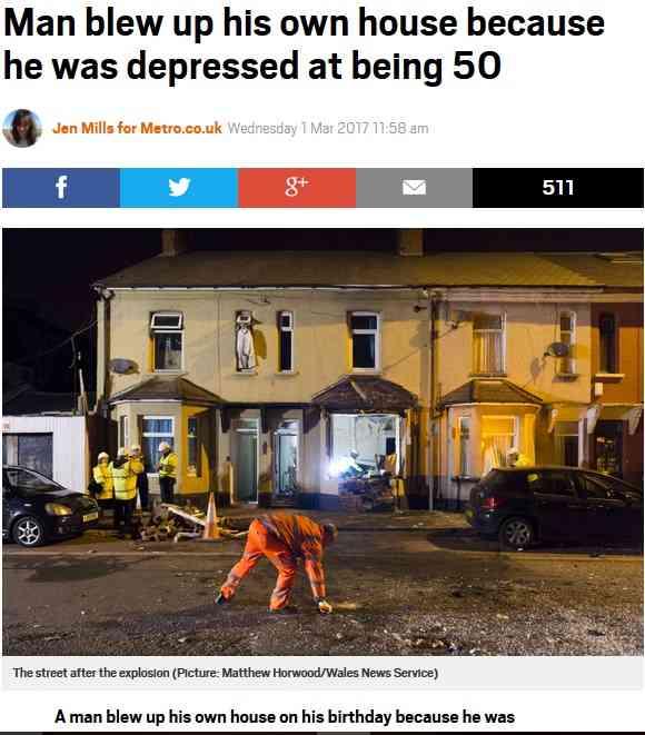【海外発!Breaking News】50歳の誕生日を一人で迎えた男、自分のアパートを吹き飛ばす(英) | Techinsight|海外セレブ、国内エンタメのオンリーワンをお届けするニュースサイト