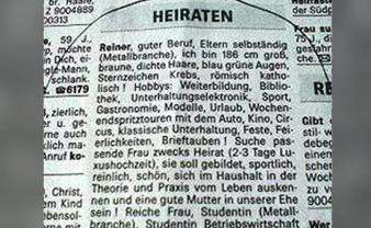 新聞の求人広告に花嫁を募集した男!相手に求める条件がやばすぎる(ドイツ)