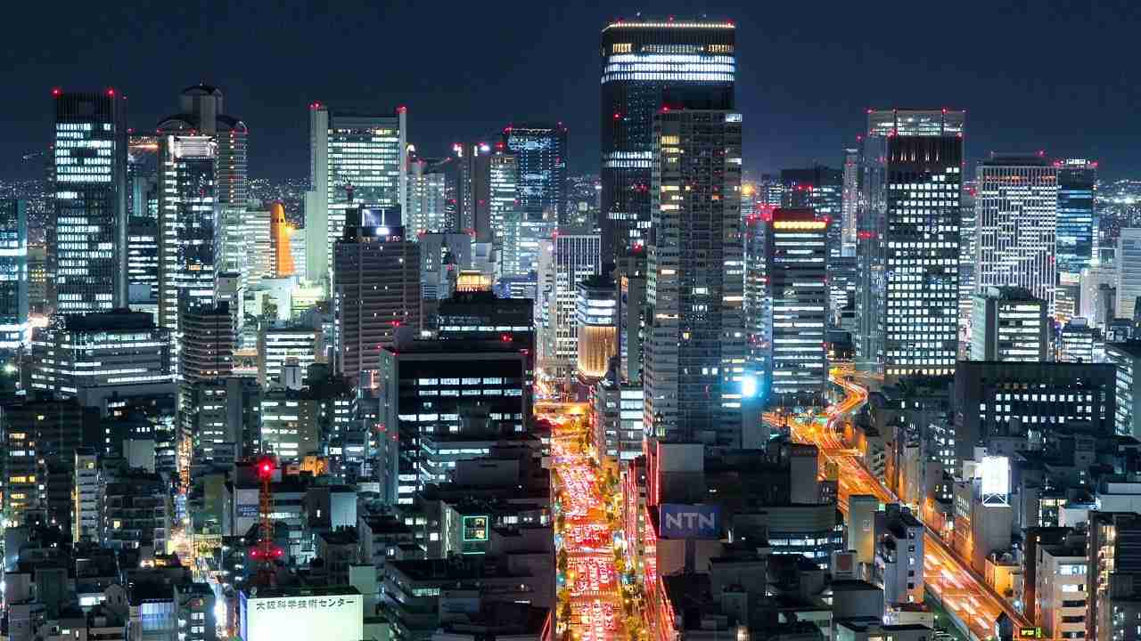 大阪の夜景 光輝く大都会 微速度撮影 Glittering Osaka City Night Time-lapse Japan - YouTube
