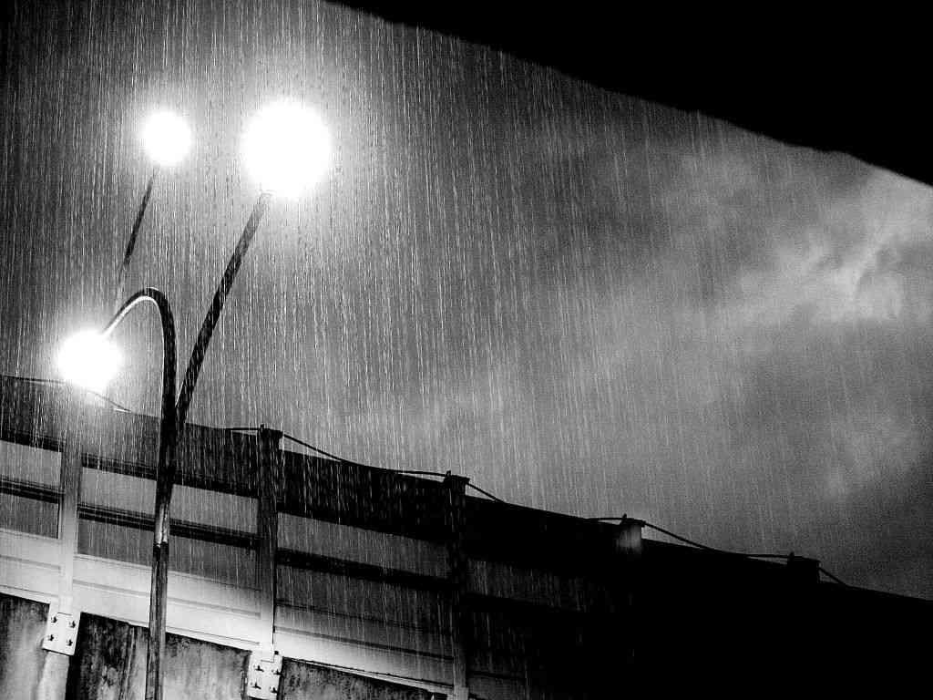 雨の中見上げる電灯と空