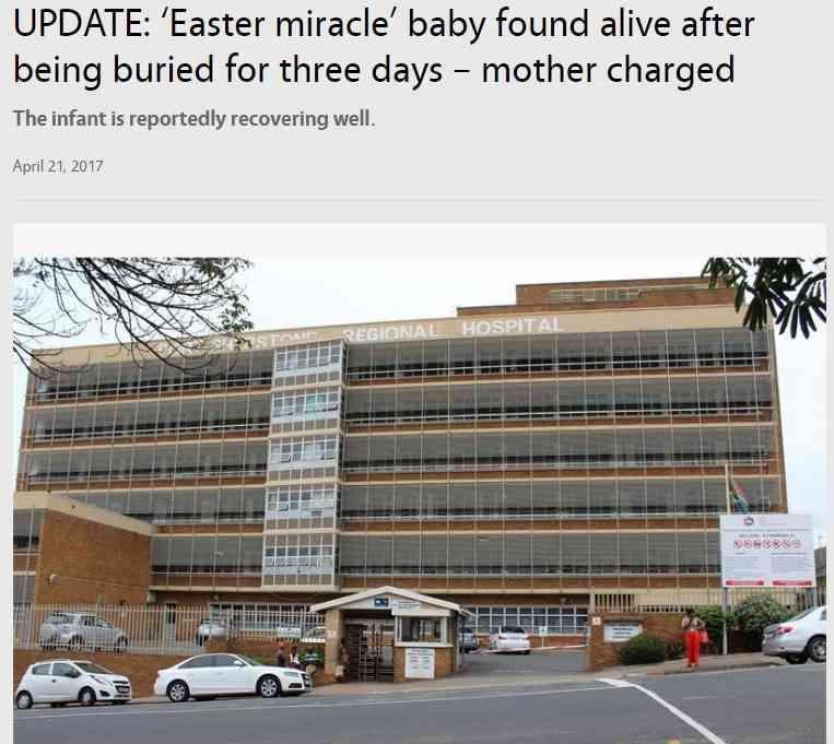 【海外発!Breaking News】母親に生き埋めにされた赤ちゃん、2日後に無事発見(南ア) | Techinsight(テックインサイト)|海外セレブ、国内エンタメのオンリーワンをお届けするニュースサイト