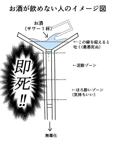 「ほろ酔いをすっ飛ばして、こうなる」お酒が飲める人と、そうでない人を図解