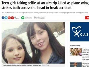自撮りに夢中の少女2人、飛行機の翼に打たれ即死(メキシコ)