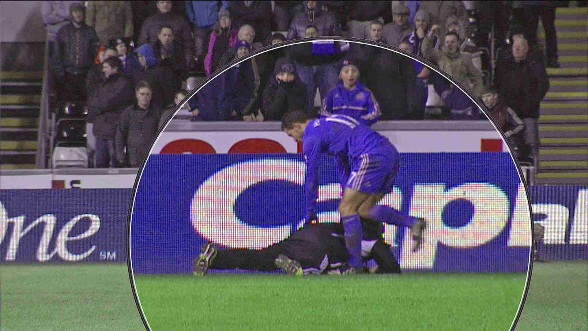 Eden Hazard Kicks Ballboy At Swansea V Chelsea Match - YouTube