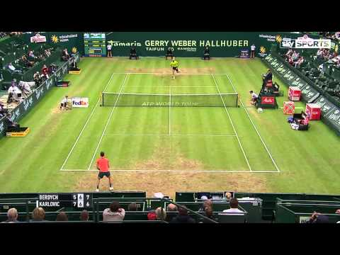 Ivo Karlovic hits record 45 aces and books Halle Open semi-final spot with win over Tomas Berdych - YouTube