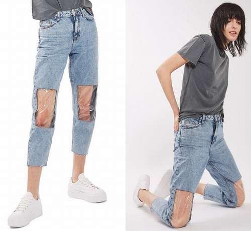 ひざ部分が透明なジーンズに賛否