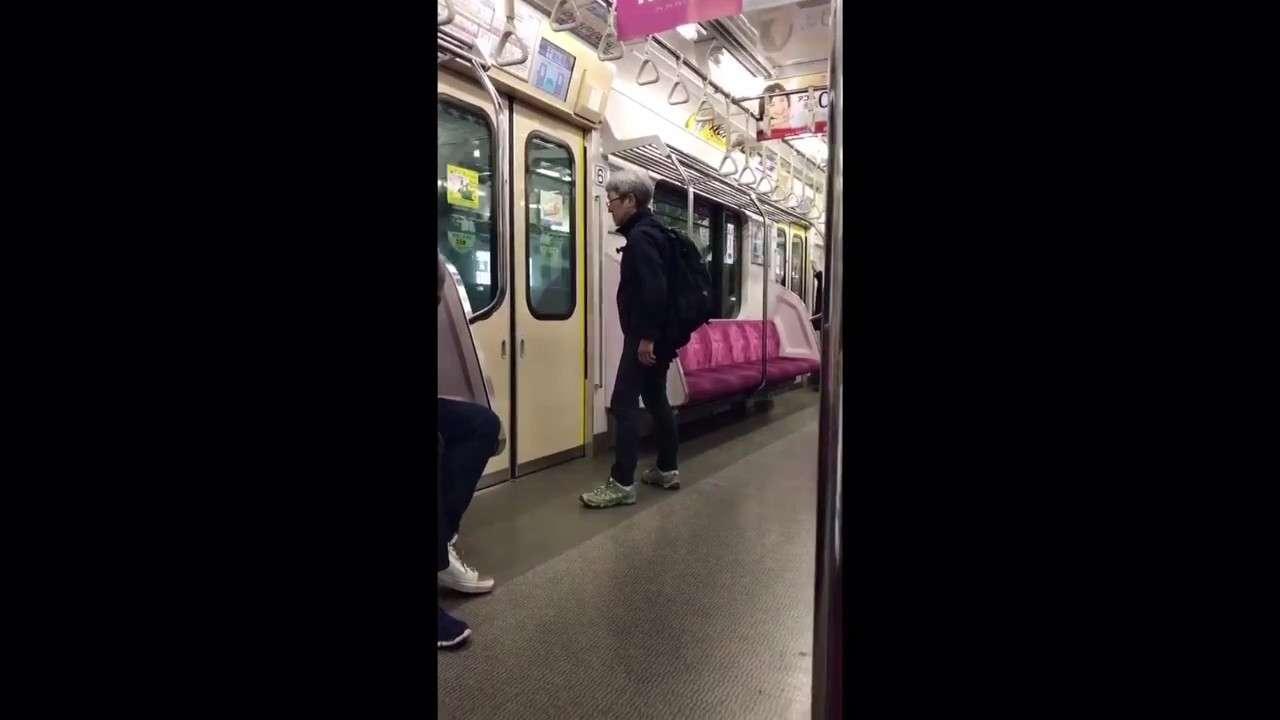【やばい】小田急でキチガイなおばさんが大暴れ - YouTube