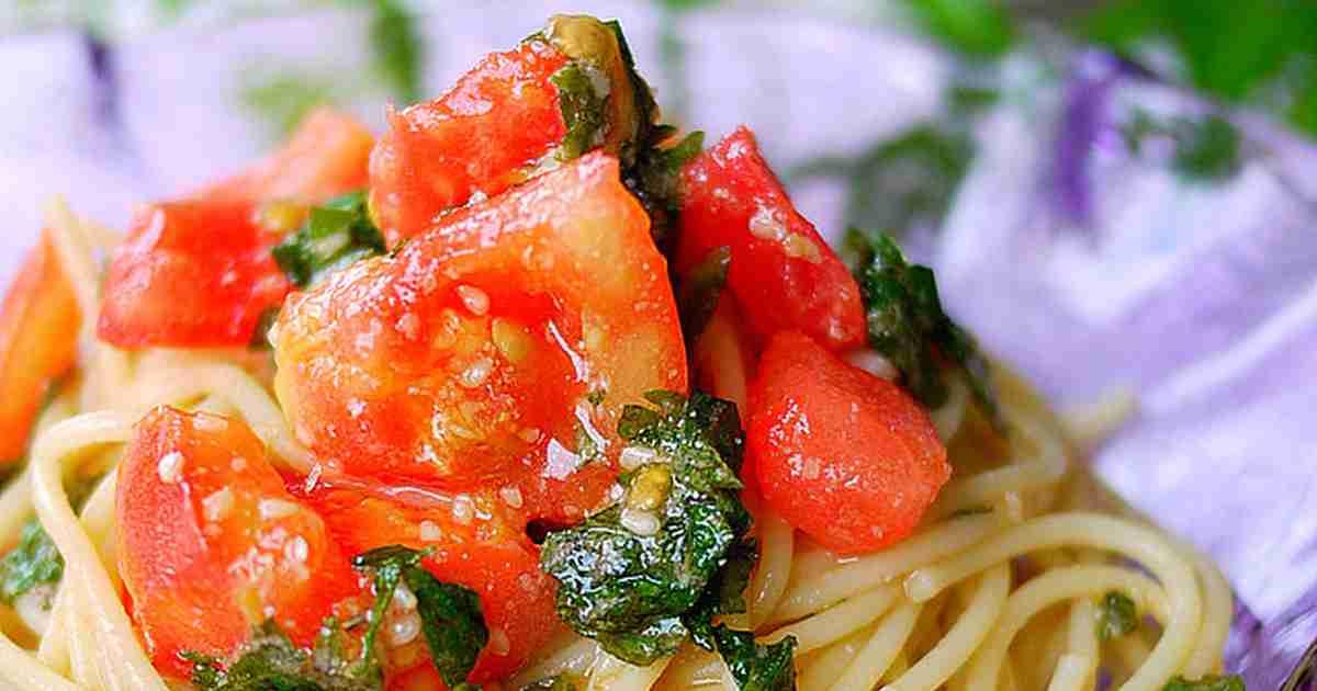 超シンプル!トマトと大葉で和風冷製パスタ by putimiko [クックパッド] 簡単おいしいみんなのレシピが266万品