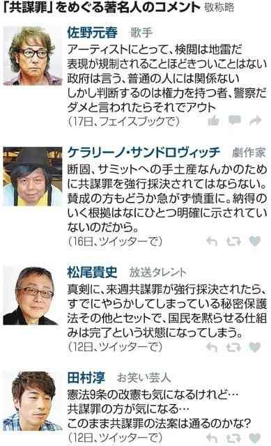 「共謀罪」、ロンブー淳さん「気になる」 著名人も発信 (朝日新聞デジタル) - Yahoo!ニュース