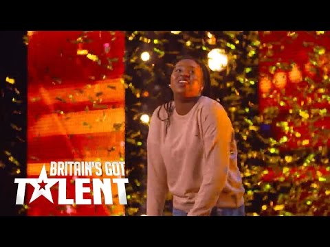 Sarah Ikumu gets the golden buzzer from Simon on BGT 2017! - YouTube