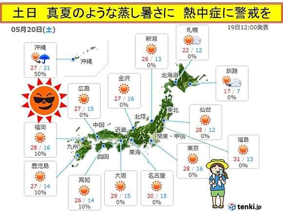 5月なのに蒸し暑く 猛暑に迫る暑さも 熱中症に警戒
