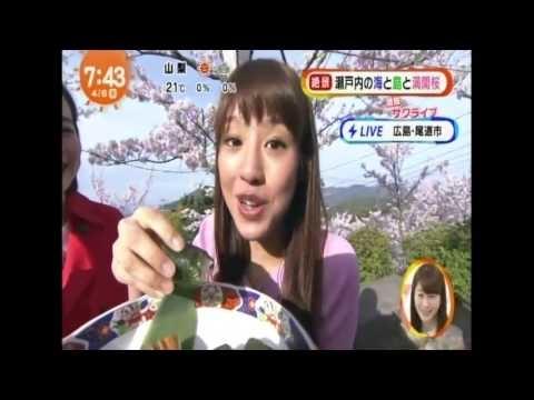 岡副麻希アナウンサー めざまし桜の名所食レポでハジける!猫耳コスプレまでww - YouTube