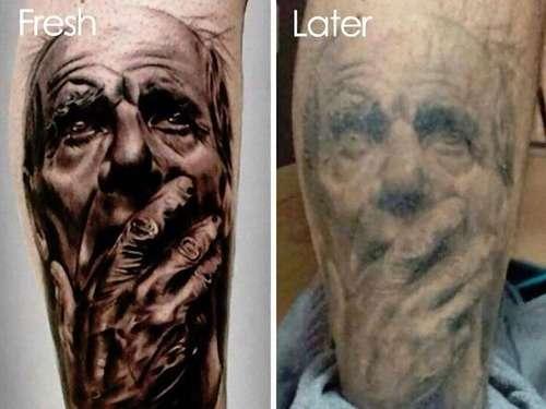 「タトゥーは一生消えないと言われるけど、何年も経ったら劣化するの?」彫った直後とその後のビフォー&アフター写真いろいろ:らばQ