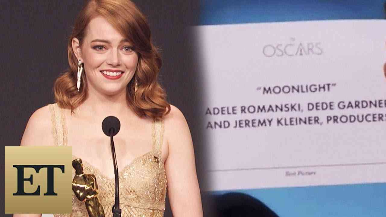 Emma Stone Reacts to Best Picture Mistake Between 'La La Land' & 'Moonlight' Backstage at the Oscars - YouTube