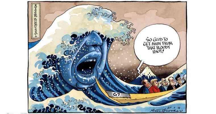 安倍総理からG7が逃げる風刺画がイギリスでつくられたとバッシングした民進党、ボートに乗っている安倍総理に気づかず赤っ恥 | netgeek