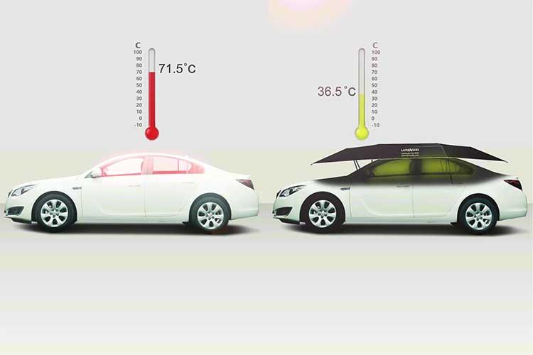 この発想はなかった!『車の傘』 コレで灼熱地獄の車内が快適に過ごせるかも!