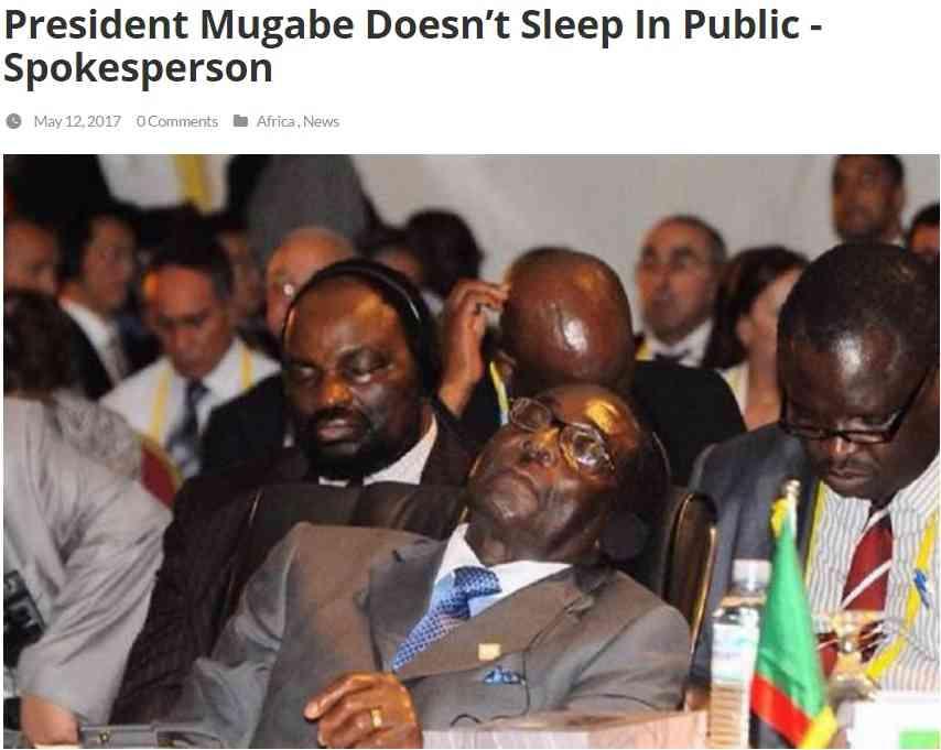 会議中に目を閉じるジンバブエ大統領 「目を守っているだけ」政府が擁護