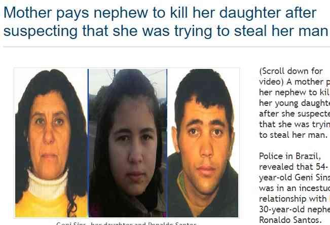 「あなたを奪われそうで憎い」母親、甥である恋人に娘を殺させる(ブラジル)