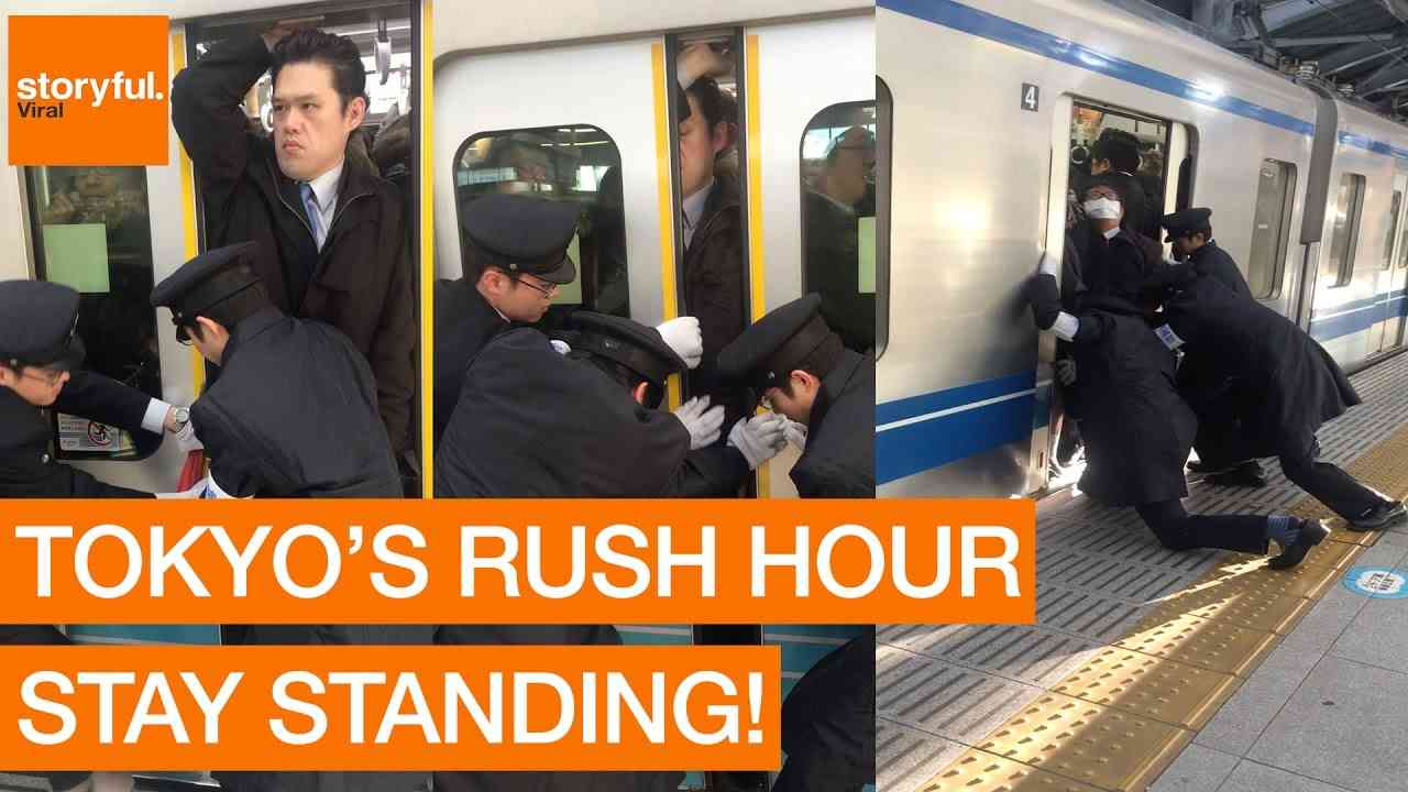 Stony-Faced Passenger Squeezes Onto Tokyo Subway During Rush Hour (Storyful, Crazy) - YouTube