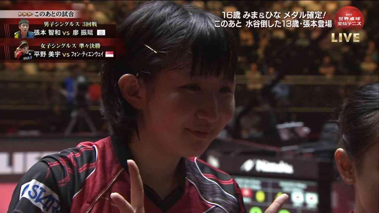 快挙!平野美宇、世界ランク4位を撃破!準決勝進出で48年ぶりのメダル確定