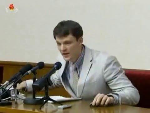 北朝鮮 「反共和国敵対行為で摘発された米国人大学生の記者会見」 KCTV 2016/03/01 日本語字幕付き Detained US student In DPRK - YouTube