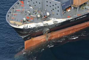 米イージス艦とコンテナ船が衝突 7人不明