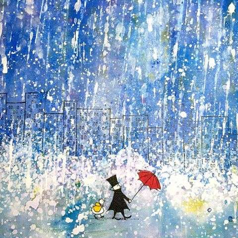 「雨」を描いた絵画を貼るトピ♪