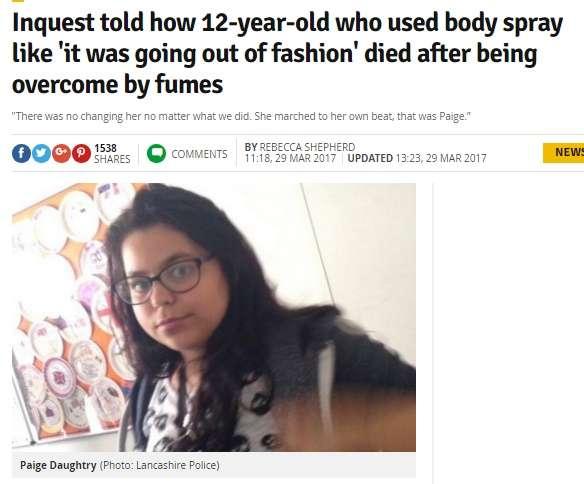 狭い空間でのデオドラントスプレー 頻回使用で12歳少女が死亡(英)