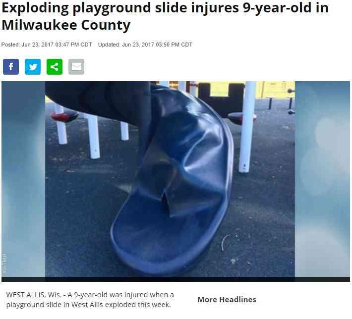 公園のすべり台が爆発し少年が重傷 爆発物か自然膨張か(米)