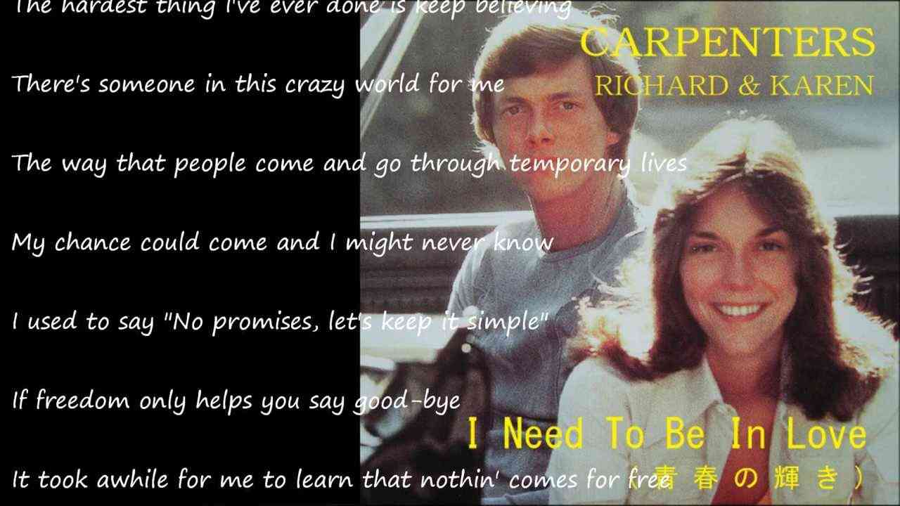 I Need To Be In Love (青春の輝き) / CARPENTERS - YouTube