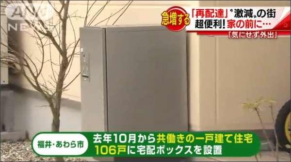 共働き住宅に宅配ボックスを無償で提供→「再配達」が49%から8%へと激減(福井県あわら市)